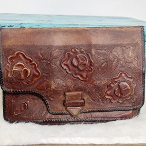 Vintage Leather Hand Tooled Floral Clutch Bag Mex